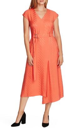 Vince Camuto Satin Jacquard Stripe Belted Dress