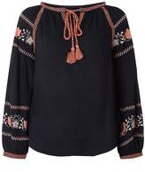Dorothy Perkins Navy and Pink Embroidered Boho Top