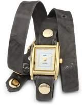 La Mer Women's LMWTW1033 Gray Washed Gold Triple Wrap Watch