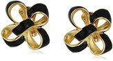 Kenneth Jay Lane Black Enamel Bow Clip-On Earrings