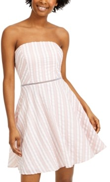 City Studios Juniors' Striped Strapless Dress