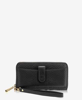 GiGi New York City Wallet In Black Embossed Python