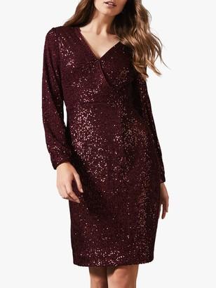 Phase Eight Kalena Sequin Dress, Garnet