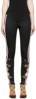 Gucci Black Embroidered Floral Leggings