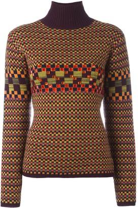 Jean Paul Gaultier Pre-Owned checked embellished turtleneck jumper