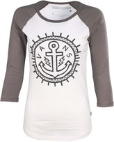Reef Vans Women's Yargh Raglan T-Shirt-Gray/White-XS