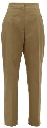 Rochas Pier Cotton Blend Gabardine Trousers - Womens - Khaki