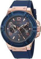 GUESS GUESS? Men's U0247G3 Rigor Blue & Rose Gold-Tone Silcone Casual Sport Watch