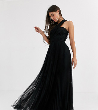 Asos Tall DESIGN Tall one shoulder tulle wired hem maxi dress-Black