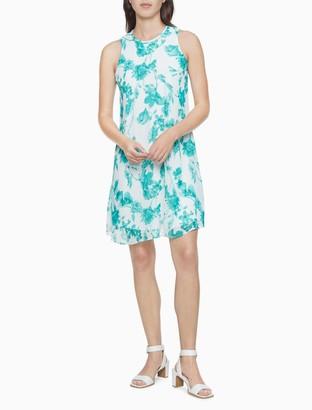 Calvin Klein Floral Sleeveless Trapeze Dress