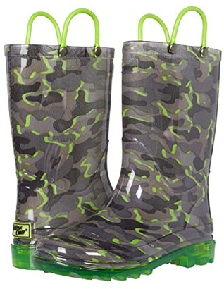 Western Chief Surf Camo Lighted PVC Boot (Toddler/Little Kid) (Grey) Boy's Shoes