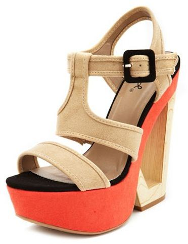 Charlotte Russe Color Block Cutout Wood Wedge