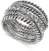 INC International Concepts Silver-Tone Textured Pavé Statement Ring, Only at Macy's