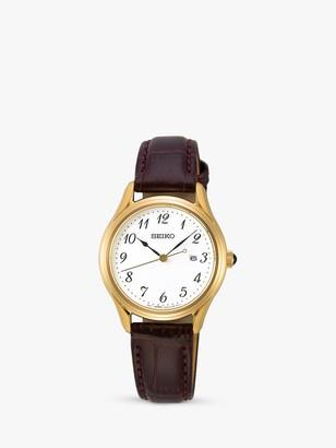 Seiko SUR638P1 Women's Date Leather Strap Watch, Brown/White