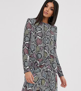 Flounce London Tall wrap front mini dress with statement shoulder in multi snake
