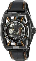 Stuhrling Original Men's 279.335557 Xtreme Millennia Expo Automatic Self-Wind Ion-Plated Skeleton Watch with Leather Band