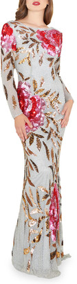 Mac Duggal Floral Sequin Long-Sleeve Column Gown