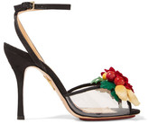Charlotte Olympia Tropicana Embellished Canvas And Pvc Sandals - Black