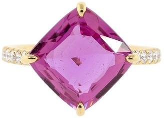 Bayco 18kt Rose Gold Diamond Sapphire Cushion Ring