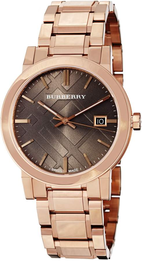 Burberry Women's BU9005 Large Check Rosetone Stainless Steel Bracelet Brown Dial Watch