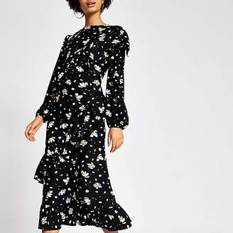 River Island Black printed long sleeve ruffle midi dress