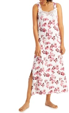 Charter Club Lace-Trim Sleeveless Maxi Nightgown, Created for Macy's