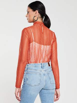 Very Sheer Lace High Neck Top - Rust