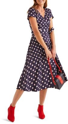 Boden Olive Print Faux Wrap Midi Dress