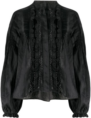 Isabel Marant ruffle trim oversized blouse