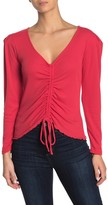 Abound Ruched Tie Front Long Sleeve Top