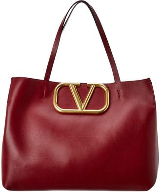 Valentino Vlogo Leather Tote