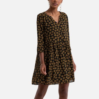 Sud Express Long-Sleeved Mini Dress With Buttoned V-Neck