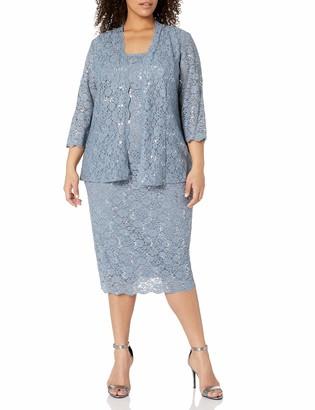 Alex Evenings Women's Plus Size Two Piece Lace Jacket Dress with Scallop Detail