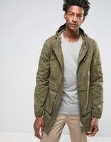 Bellfield Two Way Zip Parka With Drawstring Hood