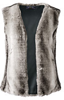 Lands' End Women's Petite Faux Fur Vest-Birch Fur