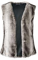 Lands' End Women's Petite Faux Fur Vest-Black