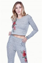 Select Fashion Fashion Womens Grey Embroidered Salt + Pepper Hoodie - size 6