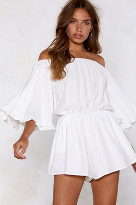 Nasty Gal Womens Off-The-Shoulder Romper with Elasticized Neckline - White
