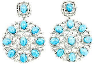 Arthur Marder Fine Jewelry Silver 3.80 Ct. Tw. Diamond & Turquoise Earrings
