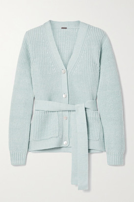Adam Lippes Belted Ribbed Wool, Silk And Cashmere-blend Cardigan - Sky blue