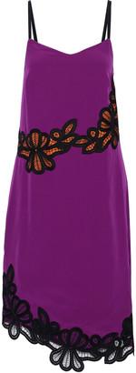 Victoria Beckham Macrame Lace-trimmed Silk Crepe De Chine Slip Dress