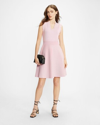 Ted Baker Knitted Skater Dress With Frill Detail