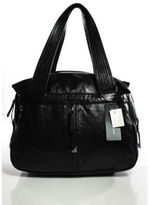 Francesco Biasia NEW Black Leather Double Handle Large Tote Handbag