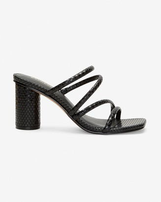 Express Snakeskin Textured Strappy Heeled Sandals