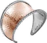 John Hardy Classic Chain 42.5MM Cuff in Silver and Hammered 18K Rose Gold