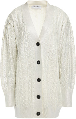 MSGM Cable-knit Metallic Coated Wool-blend Cardigan