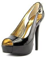 Material Girl Havic Women Open Toe Synthetic Black Platform Heel.