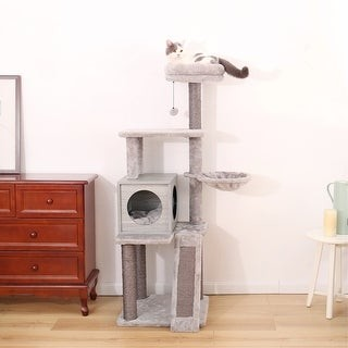 Overstock 57 Inches Cat Tree 4 Levels Platform for Cats Featuring with Fully Scratching Posts