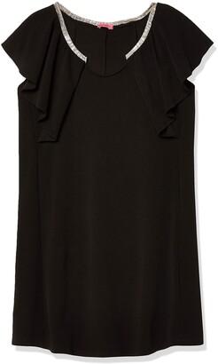 Maternal America Women's Maternity Ruffle Sleeve Dress Black/Silver Large