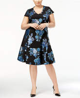 Alfani Plus Size Metallic-Print Fit & Flare Dress, Created for Macy's